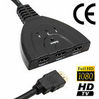 3 Port 1080P HDMI AUTO Switch Splitter Switcher HUB Box Cable for DVD HDTV PS3