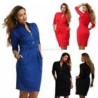 Plus Size Sexy Women Bodycon Evening Party Cocktail 3/4 Sleeve Pencil Mini Dress