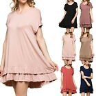 HIGH QUALITY Ruffled Hem Solid Plain Cap Sleeve Scoop Neck Tunic Dress SM ML