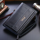Men Leather Clutch Bifold Wallet Credit Card Holder Purse High capacity Handbag