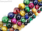 Natural Multi-Colored Tiger's Eye Gemstone Faceted Round Spacer Beads 15''