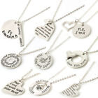Silver Vogue Charm Statement Bid Pendant Family Lover Necklace Jewelry Love Gift