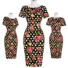 BP Evening Party Mini Crew Neck Floral Retro Vintage Bodycon Pencil Dresses Sexy