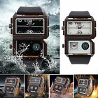 OULM Military Army Dual Time Zones Movements Quartz Leather Sports Mens Watch