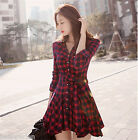 New Fashion Women Ladies Long Sleeve Spring Casual Skirt Slim Grid Dress Blouse