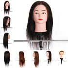 "18"" Salon Human Hair Hairdressing Training Practice Head Mannequin Doll + Clamp"