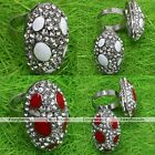 Crystal Glass Bead Oval Cocktail Party Adjustable Finger Ring Women Jewelry Gift