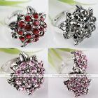 Crystal Rhinestone Tibetan Silver Plated Sunflower Cocktail Women Finger Ring