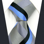 Y35 Extra Long Size Men's Neckties Silk Stripes Grey Blue Acceossories Classic
