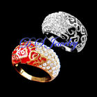 Elegant Clear Crystal Rhinestones Colorful Enamel Carved Cloudy Ring