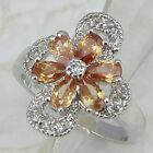 Size 5.5 6.5 GReat Orange Citrine Flower Jewelry Gold Filled Lady Gift Ring K862