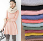 Women's Girl Mini Dress Long Sleeve Candy Color One-piece Slim Basic Dresses