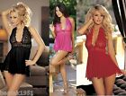 Lace Halter Babydoll & G-string Black Pink or Red One Size HOT by Shirley 96164