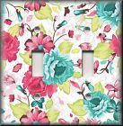 Floral Home Decor - Light Switch Plate Cover - Teal Pink Roses - Rose - Lime