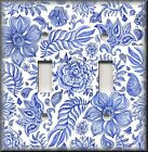 Floral Home Decor - Light Switch Plate Cover - Blue And White Flowers