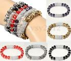 Fashion Women Lady Crystal Glass Bead Stretch Bracelet Wristbands Bangle Jewelry