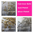 Fold over Bails Gold Plated Silver Plated Leaf Pattern Jewelry Finding