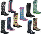 Womens Festival Wellington Rain Rubber Print Wellie Fashion Boots Wyre Valley
