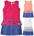 Girls Crochet Tassell Top Denim Skirt Dress New Kids Sleeveless Dresses