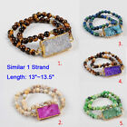 """1Pcs 13"""" Gold Plated Mixed Agate Druzy & 6mm Beads Stretch Wrap Bracelet HG0753"""