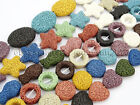 Colorful Volcanic Lava Gemstones Beads 16'' Coin Oval Heart Fish Star Round
