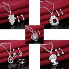 Women Fashion Wedding Crystal Heart Necklace Earrings Beautiful Girl Jewelry Set