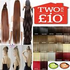 UK Real Thick One Piece Half Head Clip In Hair Extensions Straight Synthetic