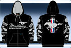 Ford Mustang Hoodie Jacket Zip Sweatshirt Jacket Embroidered Mustang Logos Adult