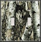 Light Switch Plate Cover - Wolf In The Woods - Birch Trees - Rustic Cabin Decor