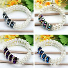 1P Faceted Crystal Glass Bead Ball Faux Pearl Beauty Women Bracelet Bangle Gift