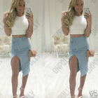 Womens Suede White Crop Top Blue Midi Skirt Party Evening Two Piece Set Dress