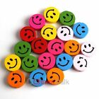 Neu Smiley Holz MIX Farbe Modisch Charms Spacer Beads Perlen 18x6mm