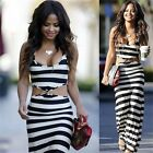 Women Sexy Strap Striped Print Backless Midriff Vest Long Skirt Party Dress UR