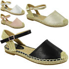 WOMENS LADIES LOW FLAT HEEL ANKLE STRAP BUCKLE ESPADRILLES SHOES SANDALS SIZE