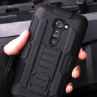 Shockproof Rugged Hybrid Armor Impact Belt Clip Holster Stand Case Cover For LG