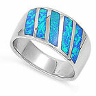 Blue Australian Opal Inlay .925 Sterling Silver Fashion Ring Size 4 5 6 7 8 9 10