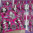 "Monster High Fear Single Rotary Duvet and Matching Curtains Set 54"" or 72"" Drop"