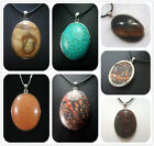 30x40MM Natural Multicolor Gemstones Oval Pendant Necklace AAA 1pcs PS0095-1
