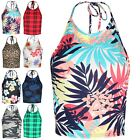 Ladies Cami Sleeveless Cropped Top Womens Strappy Crop Low Back Bralet UK 8-16