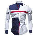New Mens Stylish Pieced Slim Body Fit Dress Work Casual Shirts Long Sleeve