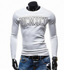 New Mens Plain T-Shirt Letter Graphic Tee Slim Body Fit Long Sleeve Tees Tops