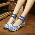 Womens Chinese Embroidered Flower Ankle lace-up Trainers Shoes Cotton Pump