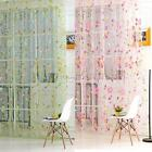 Sheer Curtain Panel Window Balcony Tulle Room Floral Print Divider Scarf Curtain