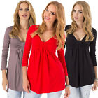 Womens Long Sleeve Tops Maternity Casual Blouse Loose Cotton Pleated T-Shirt