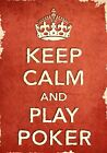 ACR4 Vintage Style Red Keep Calm Play Poker Sport Funny Poster Print A2/A3/A4
