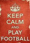 ACR7 Vintage Style Red Keep Calm Play Football Sport Funny Poster Print A2/A3/A4