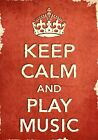 ACR14 Vintage Style Red Keep Calm And Play Music Funny Poster Print A2/A3/A4