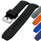 Curved End Silicone Rubber Watch Strap Black Blue 22mm