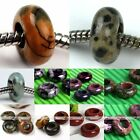 Jasper Agate Rondelle Gemstone Big Hole Loose Charm Bead Fit Snake Bracelet DIY