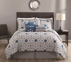 11 Piece Inspire Teal/Gray Bed in a Bag w/500TC Cotton Sheet Set